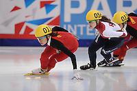 "SHORT TRACK: MOSCOW: Speed Skating Centre ""Krylatskoe"", 14-03-2015, ISU World Short Track Speed Skating Championships 2015, Yutong HAN (#011 | CHN), Sofia PROSVIRNOVA (#056 | RUS), ©photo Martin de Jong"