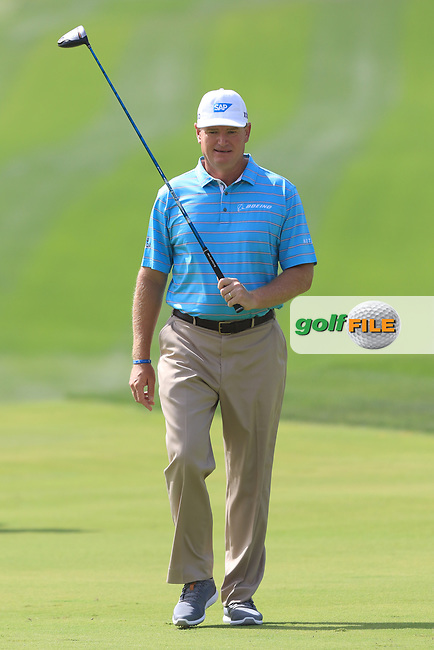 Ernie Els (RSA) on the 1st fairway during Round 4 of the Omega Dubai Desert Classic, Emirates Golf Club, Dubai,  United Arab Emirates. 27/01/2019<br /> Picture: Golffile | Thos Caffrey<br /> <br /> <br /> All photo usage must carry mandatory copyright credit (© Golffile | Thos Caffrey)