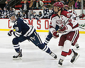 Anthony Day (Yale - 19), Max Everson (Harvard - 44) - The visiting Yale University Bulldogs defeated the Harvard University Crimson 2-1 (EN) on Saturday, November 15, 2014, at Bright-Landry Hockey Center in Cambridge, Massachusetts.
