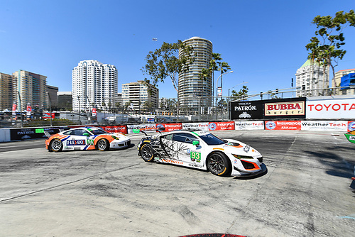 2017 IMSA WeatherTech SportsCar Championship<br /> BUBBA burger Sports Car Grand Prix at Long Beach<br /> Streets of Long Beach, CA USA<br /> Saturday 8 April 2017<br /> 93, Acura, Acura NSX, GTD, Andy Lally, Katherine Legge<br /> World Copyright: Richard Dole/LAT Images<br /> ref: Digital Image RD_LB17_293