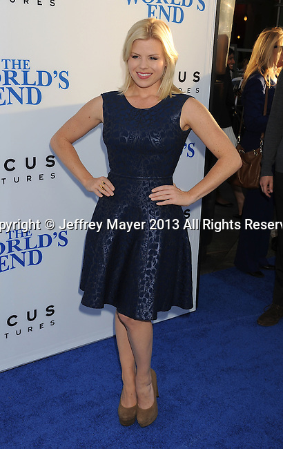 HOLLYWOOD, CA- AUGUST 21: Actress Megan Hilty arrives at the Los Angeles premiere of 'The World's End' at ArcLight Cinemas Cinerama Dome on August 21, 2013 in Hollywood, California.