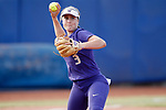 OKLAHOMA CITY, OK - JUNE 04: Taylor Van Zee #3 of the Washington Huskies throws out a batter against the Florida State Seminoles during the Division I Women's Softball Championship held at USA Softball Hall of Fame Stadium - OGE Energy Field on June 4, 2018 in Oklahoma City, Oklahoma. (Photo by Shane Bevel/NCAA Photos via Getty Images)