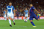 League Santander 2017/2018. Game: 03.<br /> FC Barcelona vs RCD Espanyol: 5-0.<br /> David Lopez vs Luis Suarez.