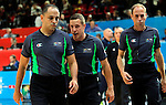 Referees Perez Emilio, Latisevs Olegs and Mogolkoc Emin  during European championship semi-final basketball match between Serbia and Lithuania on September 18, 2015 in Lille, France  (credit image & photo: Pedja Milosavljevic / STARSPORT)