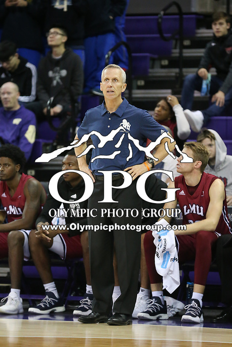 SEATTLE, WA - DECEMBER 17: Loyola Marymount head coach Mike Dunlap against Washington.  Washington won 75-63 over Loyola Marymount at Alaska Airlines Arena in Seattle, WA.