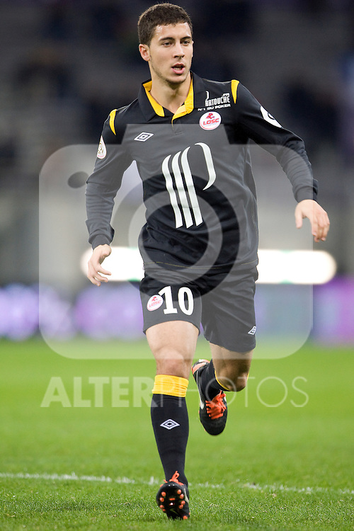 Young Belgian star Eden Hazard in action for Lille. Toulouse v LOSC (Lille), Ligue 1, Stade Municipal, Toulouse, France, 18th November 2011.