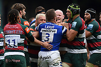 Max Lahiff of Bath Rugby gets to know the Leicester Tigers forwards. Gallagher Premiership match, between Leicester Tigers and Bath Rugby on May 18, 2019 at Welford Road in Leicester, England. Photo by: Patrick Khachfe / Onside Images