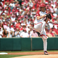NWA Democrat-Gazette/J.T. WAMPLER Arkansas' Patrick Wicklander pitches against Ole Miss Monday June 10, 2019 during the NCAA Fayetteville Super Regional at Baum-Walker Stadium in Fayetteville. Arkansas won 14-1 and will advance to the College World Series in Omaha.