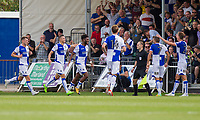 Ellis Harrison of Bristol Rovers (third left) celebrates scoring his side's third goal during the Sky Bet League 1 match between Bristol Rovers and Fleetwood Town at the Memorial Stadium, Bristol, England on 26 August 2017. Photo by Mark  Hawkins.