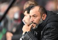 23rd November 2019; Vitality Stadium, Bournemouth, Dorset, England; English Premier League Football, Bournemouth Athletic versus Wolverhampton Wanderers; Nuno Espirito Santo Manager of Wolverhampton Wanderers watches his team - Strictly Editorial Use Only. No use with unauthorized audio, video, data, fixture lists, club/league logos or 'live' services. Online in-match use limited to 120 images, no video emulation. No use in betting, games or single club/league/player publications