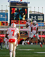 Ohio State Buckeyes wide receiver Binjimen Victor (9) celebrates his touchdown catch with Ohio State Buckeyes wide receiver K.J. Hill Jr. (14) against Maryland Terrapins in the 4th quarter of their game at Capital One Field at Maryland Stadium in College Park, Maryland on November 17, 2018. [Kyle Robertson/Dispatch]