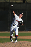 Kiko Garcia #19 of the Pepperdine Waves throws to first base while pitching against the Tulane Green Wave at Eddy D. Field Stadium on March 13, 2015 in Malibu, California. Tulane defeated Pepperdine, 9-3. (Larry Goren/Four Seam Images)