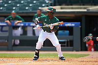 James Davison (51) of the Miami Hurricanes squares to bunt against the Wake Forest Demon Deacons in Game Nine of the 2017 ACC Baseball Championship at Louisville Slugger Field on May 26, 2017 in Louisville, Kentucky. The Hurricanes defeated the Demon Deacons 5-2. (Brian Westerholt/Four Seam Images)