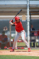 GCL Phillies left fielder Yahir Gurrola (21) at bat during a game against the GCL Tigers East on July 25, 2017 at TigerTown in Lakeland, Florida.  GCL Phillies defeated the GCL Tigers East 4-1.  (Mike Janes/Four Seam Images)