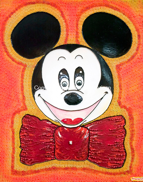SOUTHINGTON, CT. 18 April 2007-041807SV11--&quot;Mickey Mouse&quot;. Patrick Marando of Southington is a pasta artist. Marando creates paintings from cooked and non cooked pasta, then paints over over them, so they look like paintings.<br /> Steven Valenti Republican-American