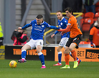 16th November 2019; Tannadice Park, Dundee, Scotland; Scottish Championship Football, Dundee United versus Queen of the South; Lewis Kidd of Queen of the South holds off Ian Harkes of Dundee United  - Editorial Use
