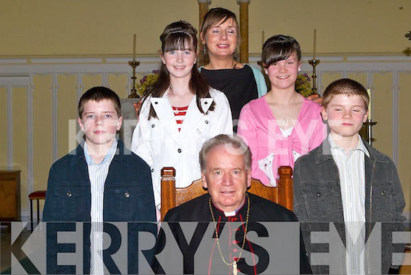 Pupils of Rathmorrell NS, after they were confirmed at St. John's Church, Causeway, on Thursday afternoon. Pictured with Bishop Bill Murphy are teacher Sheila Egan Mike Lynch, Isabel O'Connor, Laraine Hobbert and Sea?n Lynch.    Copyright Kerry's Eye 2008