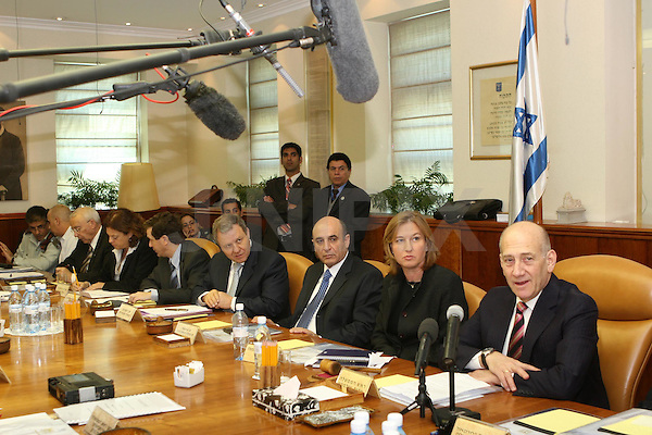 cabinet meeting with Ehud Olmert as prime minister at the PM's office in Jerusalem,  March 30 2009. Photo: Ariel Jerozolimski / Pool / JINI