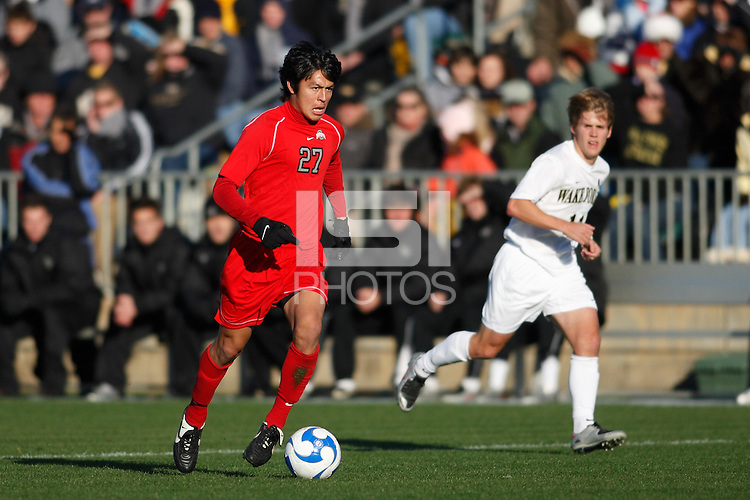 Ohio State Buckeyes midfielder Roger Espinoza (27). The Wake Forest Demon Deacons defeated the Ohio State Buckeyes 2-1 in the finals of the NCAA College Cup at SAS Stadium in Cary, NC on December 16, 2007.