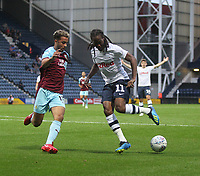 Preston North End's Daniel Johnson battles with Burnley's Mason Goodridge<br /> <br /> Photographer Mick Walker/CameraSport<br /> <br /> Football Pre-Season Friendly - Preston North End  v Burnley FC  - Monday 23st July 2018 - Deepdale  - Preston<br /> <br /> World Copyright &copy; 2018 CameraSport. All rights reserved. 43 Linden Ave. Countesthorpe. Leicester. England. LE8 5PG - Tel: +44 (0) 116 277 4147 - admin@camerasport.com - www.camerasport.com