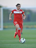 Ali Krieger (11) of the Washington Spirit. The Washington Spirit tied The Western New York 1-1 in the home opener of The National Women's Soccer League, at Maryland SoccerPlex, Saturday April 20, 2013.