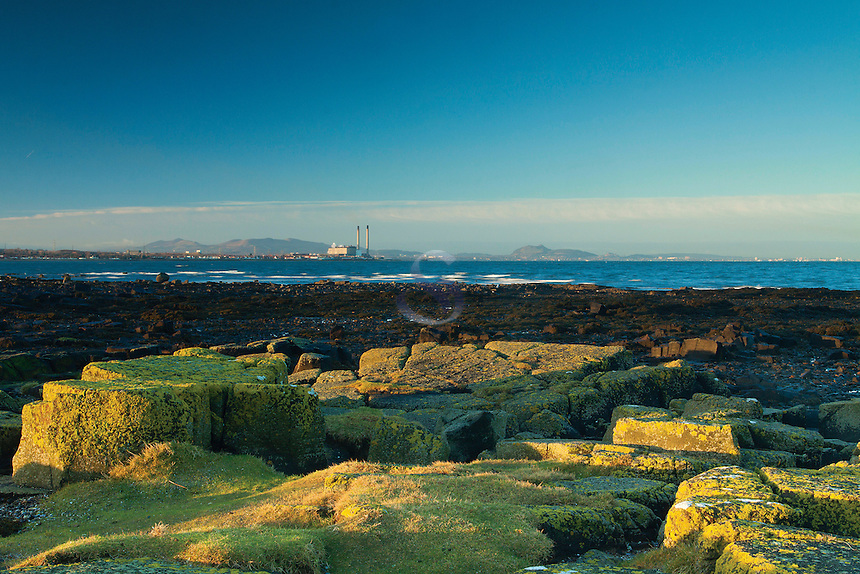 Cockenzie Power Station and Edinburgh from Longniddry Bents, East Lothian
