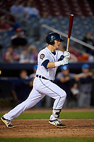Connecticut Tigers designated hitter Nick Ames (35) follows through on a swing during a game against the Hudson Valley Renegades on August 20, 2018 at Dodd Stadium in Norwich, Connecticut.  Hudson Valley defeated Connecticut 3-1.  (Mike Janes/Four Seam Images)