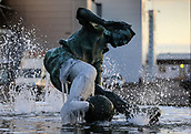 1st February 2019, Deepdale, Preston, England; EFL Championship football, Preston North End versus Derby County; the statue of Sir Tom Finney outside the ground is partially encased in ice after several days of sub-zero temperatures