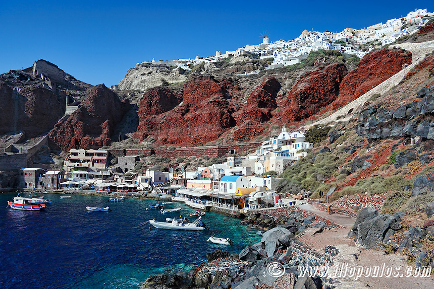 Amoudi bay located below Oia village  in Santorini, Greece