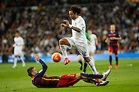 Real Madrid´s Marcelo Vieira and Barcelona´s Pique during 2015-16 La Liga match between Real Madrid and Barcelona at Santiago Bernabeu stadium in Madrid, Spain. November 21, 2015. (ALTERPHOTOS/Victor Blanco) /NortePhoto