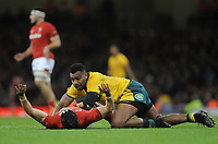 Australia's Samu Kerevi barges into Wales' Leigh Halfpenny<br /> <br /> Photographer Ian Cook/CameraSport<br /> <br /> Under Armour Series Autumn Internationals - Wales v Australia - Saturday 10th November 2018 - Principality Stadium - Cardiff<br /> <br /> World Copyright © 2018 CameraSport. All rights reserved. 43 Linden Ave. Countesthorpe. Leicester. England. LE8 5PG - Tel: +44 (0) 116 277 4147 - admin@camerasport.com - www.camerasport.com