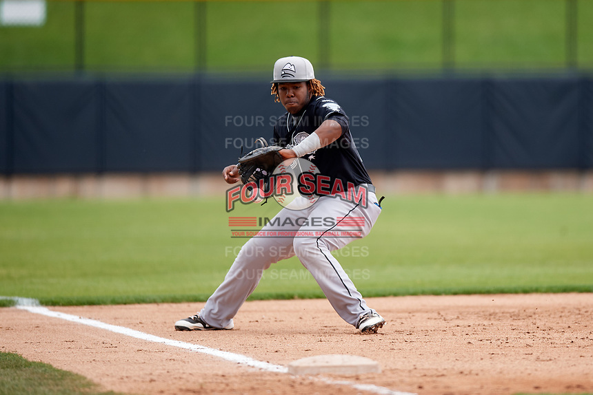 Lansing Lugnuts third baseman Vladimir Guerrero Jr. (27) fields a ground ball during a game against the Clinton LumberKings on May 9, 2017 at Ashford University Field in Clinton, Iowa.  Lansing defeated Clinton 11-6.  (Mike Janes/Four Seam Images)