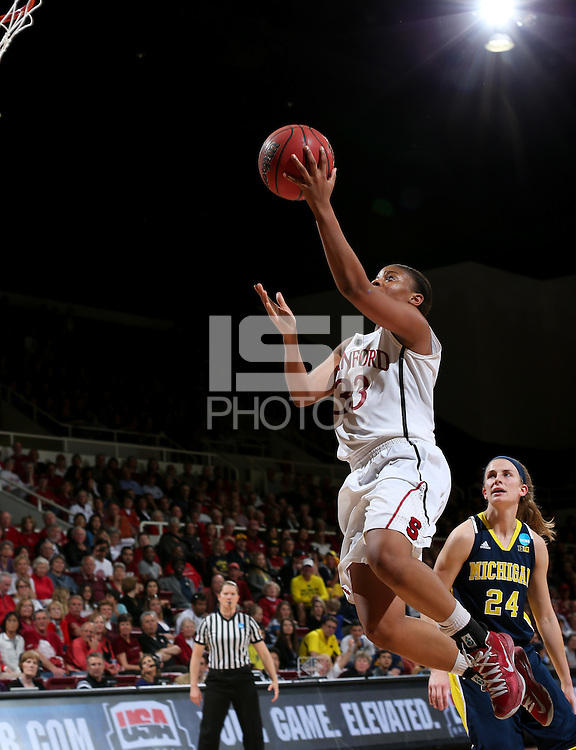 STANFORD, CA - March 26, 2013: Stanford Cardinal's Amber Orrange in a second round game of the 2013 NCAA Division I Championship  versus Michigan at Maples Pavilion in Stanford, California.  The Cardinal defeated the Wolverines 73-40.