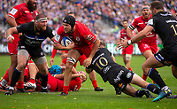 Toulouse Rugby's Francois Cros is tackled by Bath Rugby's Rhys Priestland <br /> <br /> Photographer Bob Bradford/CameraSport<br /> <br /> European Rugby Champions Cup - Bath Rugby v Toulouse - Saturday 13th October 2018 - The Recreation Ground - Bath<br /> <br /> World Copyright © 2018 CameraSport. All rights reserved. 43 Linden Ave. Countesthorpe. Leicester. England. LE8 5PG - Tel: +44 (0) 116 277 4147 - admin@camerasport.com - www.camerasport.com