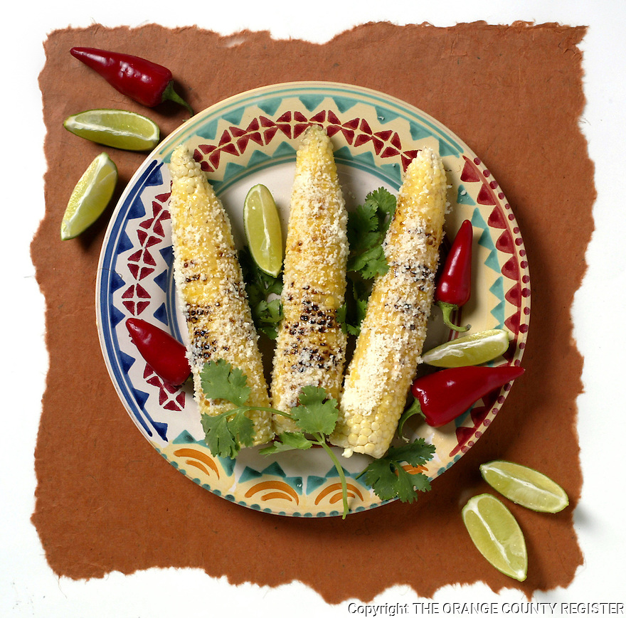 Corn on the Cob with Cotilja Cheese and Lime. Portfolio only