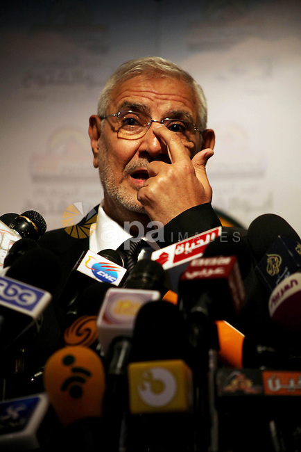 Egyptian presidential candidate Abdel-Moneim Abolfotoh speaks at a press conference in Cairo, Egypt, Monday, May 28, 2012. Three top candidates in Egypt's presidential race have filed appeals to the election commission, alleging violations in the first round vote that they say could change the outcome. Abdel-Moneim Abolfotoh, a moderate Islamist who finished fourth in, filed his appeal Sunday and also called for official results to be delayed. His lawyer said the campaign has proof that votes were cast on behalf of dead people, and in other cases, bribes were paid for votes. Photo by Ashraf Amra