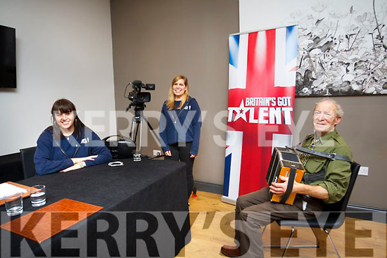 Legend Nicholas Scollard auditions for Britains Got Talent at the Ashe Hotel on Monday last with producers Sophie Withlam (seated) and Kate Startup on camera.