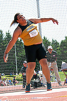 Missouri red shirt freshman Kearsten Peoples launches the discus Sunday at the Big 12 Outdoor Track and Field Championships at Kansas State in Manhattan Ks. Peoples, already the school record holder, entered the competition as the 5th seed but came away with another school record and a conference title, Peoples best throw of 178-5 was almost a 2.5 foot personal record and six inches farther than the runner-up.