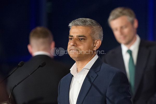 Sadiq Khan, the new London Mayor, acceptance speech after the results announcement in London's City Hall, May 06, 2016. (back to Khan) Paul Golding Britain First, Sadiq Khan Labour, Zac Goldsmith Conservative.<br /> CAP/CAM<br /> &copy;CAM/Capital Pictures /MediaPunch ***NORTH AMERICAN AND SOUTH AMERICAN SALES ONLY***