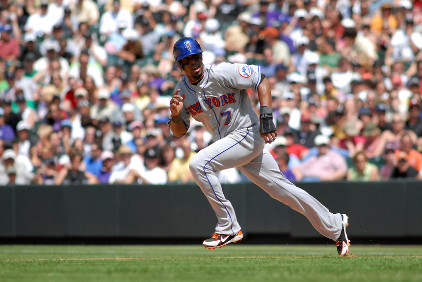 25 May 2008: New York Mets shortstop Jose Reyes runs towards 2nd base during a game against the Colorado Rockies. The Rockies defeated the Mets 4-1 at Coors Field in Denver, Colorado.