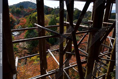 Tall supporting wooden pillars of Kiyomizu-dera temple in Kyoto, Japan