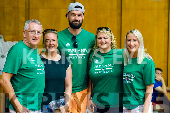 Jimmy Diggins and Lindsey Moriarty (Tralee), John Dowling (Ardfert), Sarah Dynan (Tralee) and Ursula O'Keeffe (Rathmore) pictured at the U16 Boys Basketball European Championships in Sofia, Bulgaria.