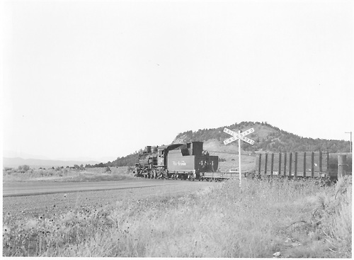3/4 rear fireman side view of K-36 #484 crossing Highway 550 on route from Aztec to Bondad with empty pipe train.<br /> D&amp;RGW  Aztec to Bondad, NM  Taken by Bender, Henry E. Jr. - 8/26/1965
