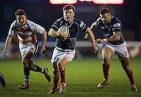 George Horne of London Scottish Football Club drives for the line during the Greene King IPA Championship match between London Scottish Football Club and Ealing Trailfinders at Richmond Athletic Ground, Richmond, United Kingdom on 26 December 2015. Photo by Alan  Stanford / PRiME Media Images
