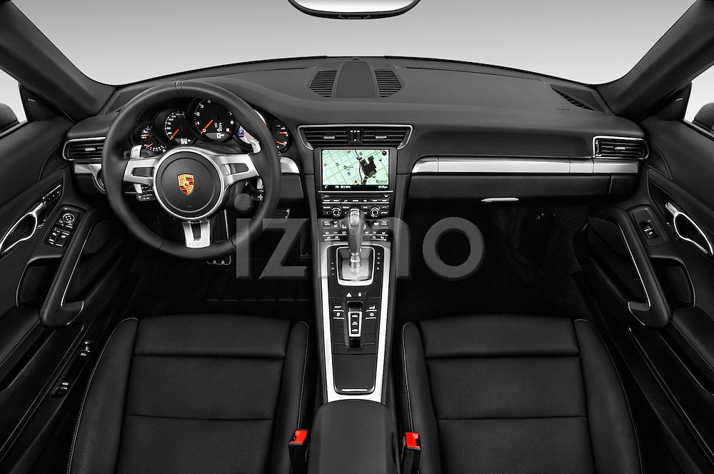 Stock photo of straight dashboard view of 2016 Porsche 911 Black Edition 2 Door convertible Dashboard