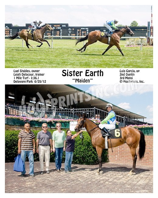 Sister Earth winning at Delaware Park on 6/25/12