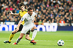 Real Madrid's Lucas Vazquez, Borussia Dortmund Julian Weigl during Champions League match between Real Madrid and Borussia Dortmund  at Santiago Bernabeu Stadium in Madrid , Spain. December 07, 2016. (ALTERPHOTOS/Rodrigo Jimenez)