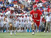 Annapolis, MD - May 20, 2018: Cornell Big Red a Connor Fletcher (27) is being defended by Maryland Terrapins Bryce Young (41) during the quarterfinal game between Maryland vs Cornell at  Navy-Marine Corps Memorial Stadium in Annapolis, MD.   (Photo by Elliott Brown/Media Images International)