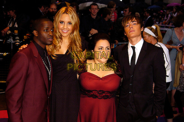 "ELIJAH KELLEY, AMANDA BYNES, NIKKI BLONSKY & ZAC EFRON.""Hairspray"" UK film premiere at the Odeon West End, London, England..July 5th, 2007.half length black suit jacket red purple dress .CAP/CAN.©Can Nguyen/Capital Pictures"