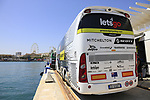 Mitchelton-Scott team bus at the port before Stage 1 of the La Vuelta 2018, an individual time trial of 8km running around Malaga city centre, Spain. 25th August 2018.<br /> Picture: Eoin Clarke | Cyclefile<br /> <br /> <br /> All photos usage must carry mandatory copyright credit (© Cyclefile | Eoin Clarke)